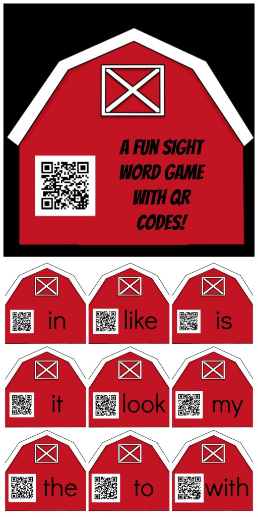 A fun sight word game with QR Codes-tall
